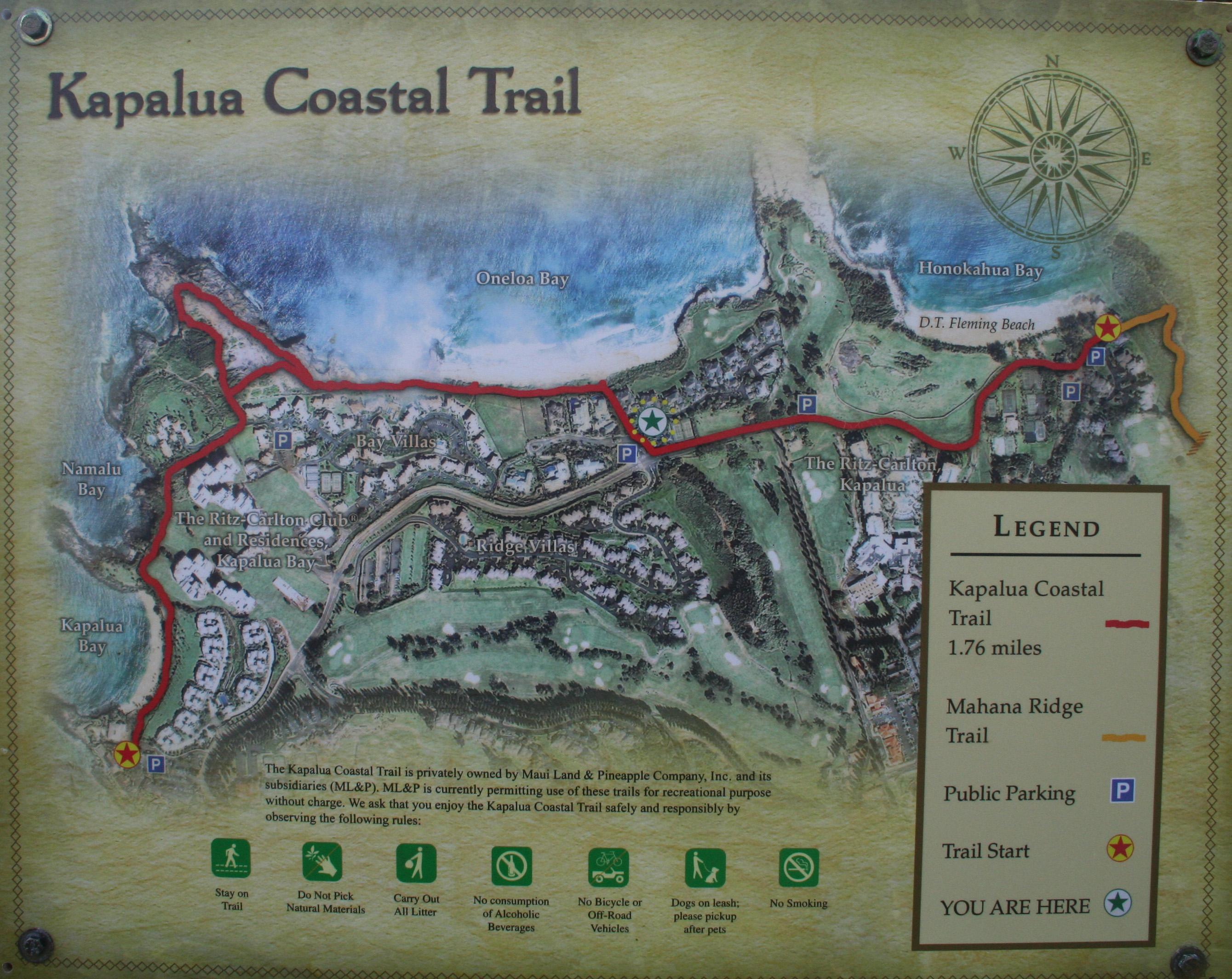 Kapalua Hawaii Map.Oneloa Beach Maui Guidebook